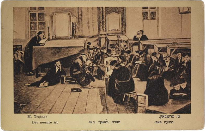 Jews praying at synagogue on the night of Tisha B'Av